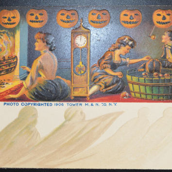 Halloween Postcard, Witching Hour, Tower Postcard, Halloween Card, Halloween Ephemera, Ghosts Family, Clocks, No 101 S, Halloween Invitation