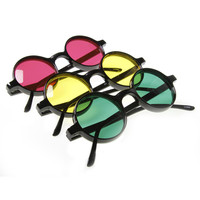 Small Retro Round Color Lens Sunglasses 8631 [3 Pack]