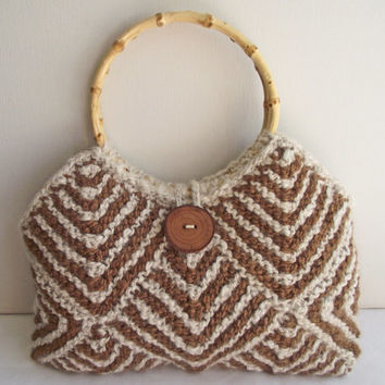 Alpaca Bag, Cream Brown Knit Purse, Lined Cream Purse, Handspun Knit Boho Bag, Brown Stripe, Knit Alpaca Handbag, OOAK Purse Bamboo Handles