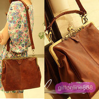 Korean Women Retro Leather Shoulder Bag Handbag #4007