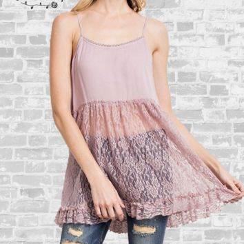 Romantic Ruffle Lace Cami - Mauve - Small or Medium only