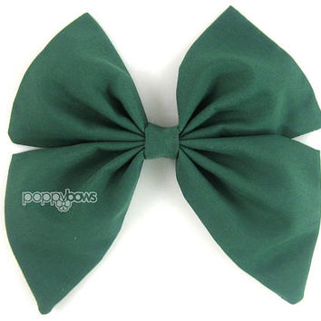 Hunter Green Hair Bow, girls hair bow, Dark green hair bow, sailor hair bow, School Christmas big hair bow, large hair bow, cotton bs5-dkg