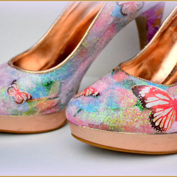 SALE, Custom Womens Shoes, Womens Decoupage Heels, Womens Glitter Heels, Size 10 Shoes, Decoupage Shoes, Gifts for Her, 1 DAY SHIPPING