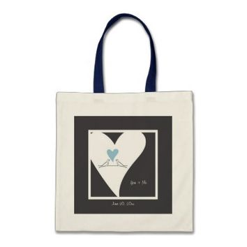 Cute white doves in love personalized tote bags: You + Me: More styles and colors are available. Wedding favor or any anniversary gift idea