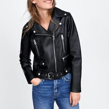 FAUX LEATHER JACKET WITH ZIPS