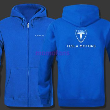 Tesla logo zipper Hoodie Zipper Sweatshirt Cotton