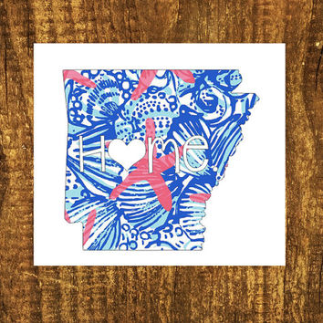 LILLY PULITZER Arkansas Home Decal | Arkansas State Decal | Homestate Decals | Love Sticker | Love Decal  | Car Decal | Car Stickers | 044