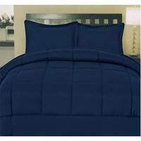 Cozy Home Down Alternative 5 Piece Embossed Comforter Set - Navy (Queen)