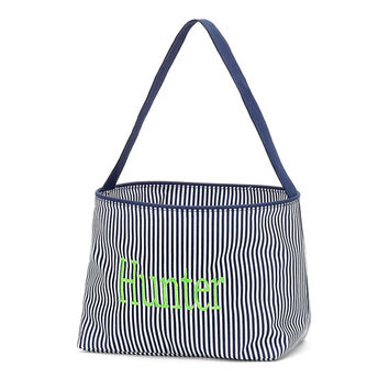 Easter Basket Navy Blue Mini Stripe Tote Bucket  -  Personalized Monogrammed