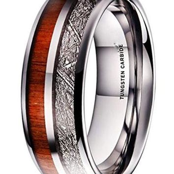 CERTIFIED 8MM Meteor Tungsten Carbide Imitated Meteorite Koa Wood Inlay Band