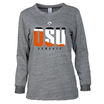 Grey Official NCAA Osu Cowboys Men's / Cozy Tri Blend Crew Neck SweaT-Shirt