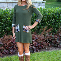 Mad About Plaid Dress Olive
