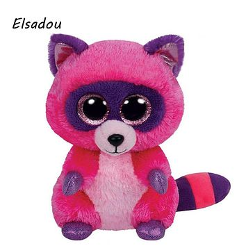 Elsadou Ty Beanie Boos Stuffed & Plush Animals Rose Red Raccoon Toy Doll