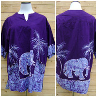 Purple Elephant Dashiki Blouse Hippie Mini Dress Vintage 90s Batik Mens Womens Top Size M/L Medium Large Short Sleeve Ethnic Boho Blouse