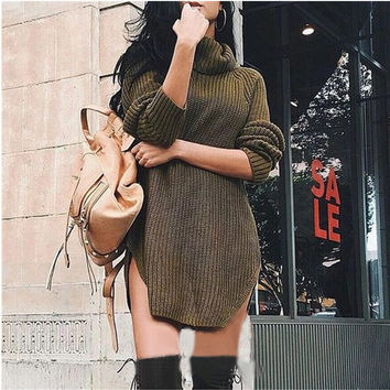 Army Green Turtleneck Curved Hem Sweater Dress