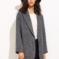 Black And White Tweed Oversized Boyfriend Blazer -SheIn(Sheinside)