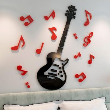 New arrival Guitar note 3d crystal acrylic three-dimensional wall stickers Cartoon children's room bedside music decoration