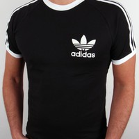 Adidas Trefoil 3 Stripes T shirt in Black,adidas originals trefoil tee black