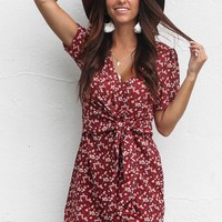 Mended Heart Wine Floral Tie Front Wrap Dress