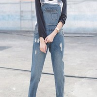 Slimming Pocket Design Denim Ninth Ripped Jumpsuit