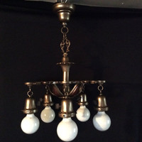Vintage Art Deco 5 Bulb Hanging Light Chandelier 1920s Polychrome