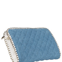 Quilted Denim Envelope Clutch
