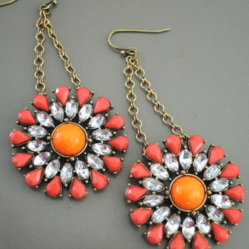 Vintage Earrings - Statement Earrings - Rhinestone Earrings - Crystal Earrings - Coral Earrings - Upcycle Earrings - OOAK - handmade jewelry