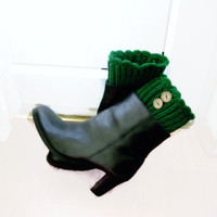 Green boot cuffs with  wood button detail