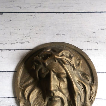 Bronze Jesus Art Relief Sculpture/ Bronze Christ Relief Sculpture/ Bronze Jesus Plaque/ Antique Religious Art/ Vintage Bronze Religious Art