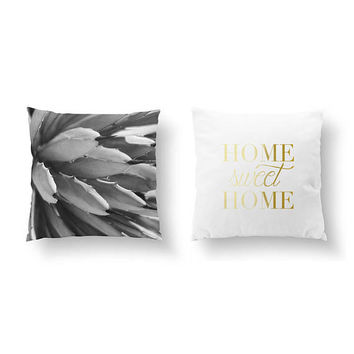 SET of 2 Pillows, Agave Black, Succulent Illustration, Throw Pillow, Cushion Cover, Bed Pillow, Home Sweet Home, Gold Pillow, Desert Art