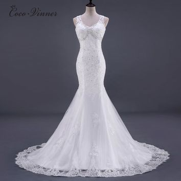 C.V New V Neck Backless Elegant Mermaid Wedding Dresses Appliques Beading Sleeveless Sexy Plus Size Wedding Gowns casament W0183