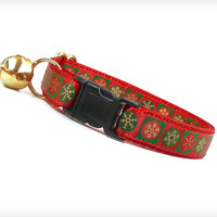 """Holiday Cat Collar - """"Let It Snow"""" - Gold Snowflakes on Red & Green"""