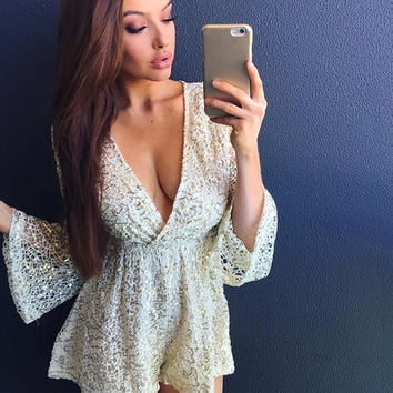 Shaped Shorts Lace Hollow Out Long Sleeve Jumpsuit [10715940111]