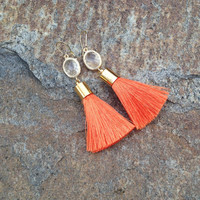 Clemson Tassel Earrings, Clemson Tigers, Orange and White Dangle Earring, Gold, The Persnickety Cricket - The Tailgate Collection