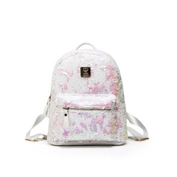 Fashion Women Double Shoulder Bag Dazzling Sequins Glitter Sparkling Backpack Brand Design Cut Student School Bags