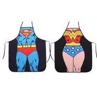 DCCKIX3 Superman + Wonder Woman Anime Cartoon Hero Character Series Modern Family 2pcs Apron Couple Kitchen Aprons Barbecue/bbq Apron = 1930044164