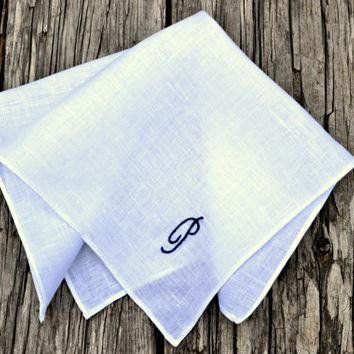 Rolled Hem Monogrammed Handkerchief, White Linen Personalized Handkerchief, Pocket Square with Initial, Groomsmen Pocket Square, Hankerchief