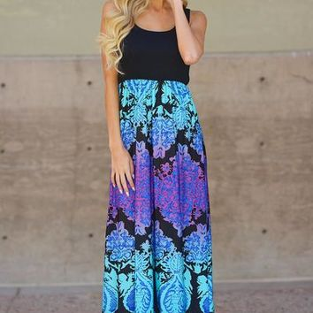 Iridescent Dream Maxi Dress - Black