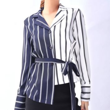 Hot style women's clothing is a hot seller of irregular shirts with matching color stripes