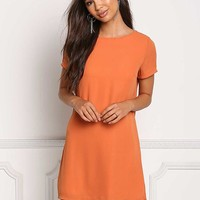 Orange Basic Shift Dress