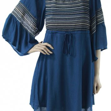 Umgee Indigo Bell Sleeve Dress