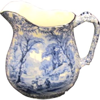James Kent Ye Olde Foley Ware Staffordshire Blue and White Transferware Pitcher/Jug