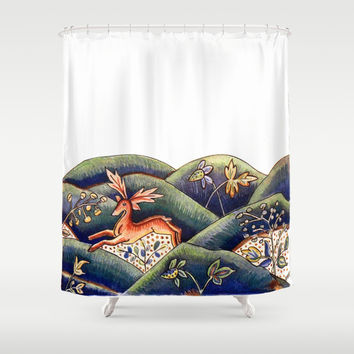 Vintage folk deer fawn woodland animal in forest vibrant hipster rustic chic drawing art print Shower Curtain by IGalaxy
