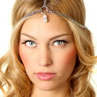 Silver Head Bands - Silver Crystal Pearl Chain Headpiece | UsTrendy