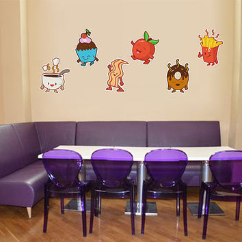 kcik1298 Full Color Wall decal Funny children's sweets donut cupcake fries restaurant snack
