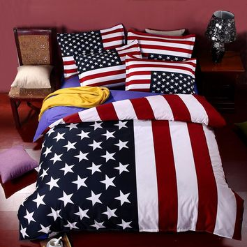 British Flag/American Flag Bedding Set High Quality Bed Linen Cartoon Bedclothes Duvet Cover Flat Sheet Pillowcase Free Shipping