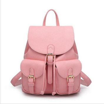 ESBONEJ Candy Color  Leather Double Pocket Backpack Purse