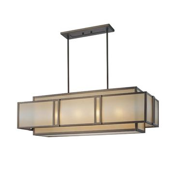 Metropolitan Lighting N6959-267B Walt Disney Signature Underscore Cimarron Bronze Four-Light Rectangular Chandelier