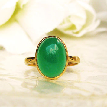 Art Deco Engagement Ring 14K Gold Antique Oval Cabochon Chrysoprase Wedding Ring Unique Green Chalcedony Ring Size 5!
