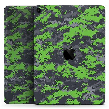 "Lime Green and Gray Digital Camouflage - Full Body Skin Decal for the Apple iPad Pro 12.9"", 11"", 10.5"", 9.7"", Air or Mini (All Models Available)"